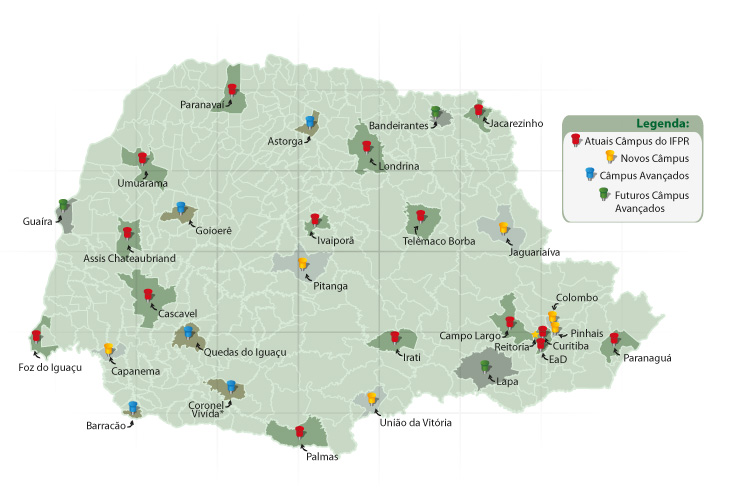 Mapa do Paraná com as unidades do IFPR